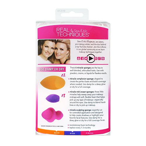 Real Techniques 6 Miracle Complexion Sponges Make Up Brush...