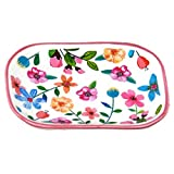 The Round Top Collection Trinket Tray with Flowers and Pink Rim