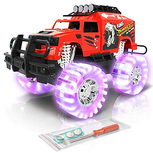 ArtCreativity Light Up Red Monster Trucks - 11 Inch Monster Truck with Beautiful Flashing LED Tires and Cool Music - Push n Go Toy Cars - Best Gift for Boys & Girls Ages 3+