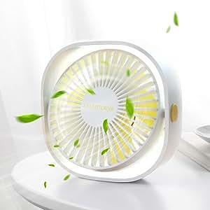 SMARTDEVIL Portable Desk Fan, Small Personal USB Desk Fan, Desktop Table Cooling Fan Powered by USB Fan with 3 Speeds, Strong Wind Fan for Home, Offical, Dormitory,Desktop,Car Outdoor Travel (White)
