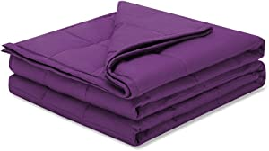 Weighted Idea Cool Weighted Blanket 15 lbs 60''x80'' for Adults (100% Natural Cotton, Purple)