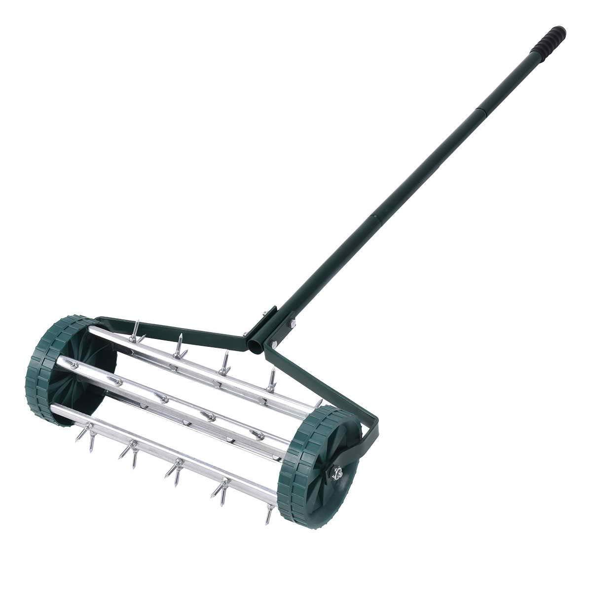 Rolling Lawn Aerator 18-inch Garden Yard Rotary Push Tine Heavy Duty Spike Soil Aeration, 50-in Handle