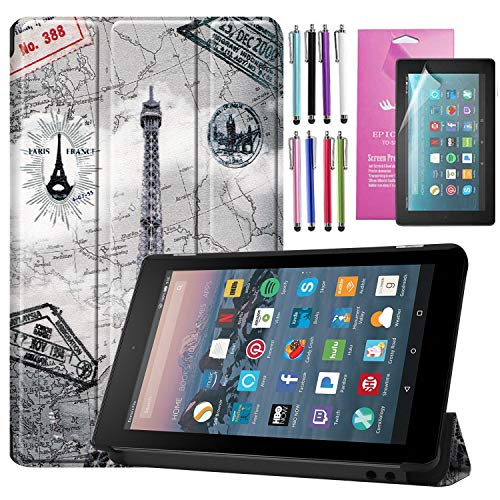 EpicGadget 2019 All New Fire 7 Case, Smart Cover Case Auto Sleep/Wake Premium Leather Folding Folio Case for Fire 7 2019/ Fire 7 Kids Edition 2019 (9th Generation) (Eiffel Tower)