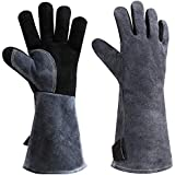932°F Leather Heat Resistant Welding Gloves Grill BBQ Glove for Tig Welder/Grilling/Barbecue/Oven/Fireplace/Wood Stove - Long Sleeve and Insulated Cotton (Black-Gray,16-inch)¡