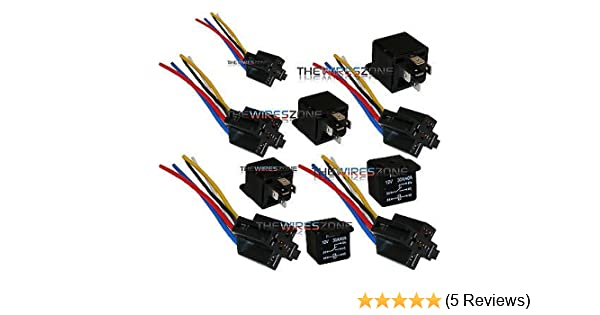 amazon com: the wires zone 5 pack 30/40 amp relay wiring harness spdt 12  volt bosch style s: automotive