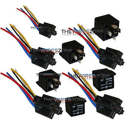 Stupendous Amazon Com The Wires Zone 5 Pack 30 40 Amp Relay Wiring Harness Wiring Digital Resources Spoatbouhousnl