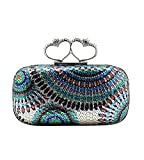 MissFox Women's Heart Pattern Sequins Rhinestone Decoration Handbag Chain Clutch Bag