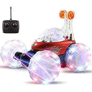Haktoys HAK101 Red Upgraded Tornado Acrobatic Stunt RC Car, Multi-functional Radio-Controlled Rechargeable Vehicle with Flashing LED Lights & Music Switch, Safe & Durable, Gift for Kids, Boys & Girls