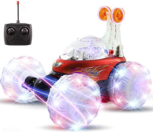 Haktoys HAK101 Red Invincible Tornado Acrobatic Stunt RC Car, Radio-Controlled Rechargeable Vehicle with Flashing LED Lights & Music Switch, Safe & Durable, Gift for Kids, Boys & Girls (Blue Hat Toy Company Thunder Tumbler Rc Car)