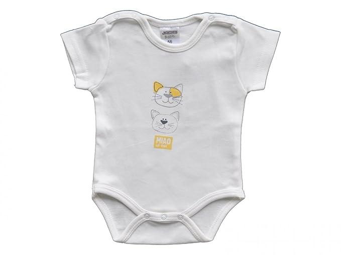Jacky Baby - Body * Diseño de gatos * Body para bebé con 100% de algodón de manga corta blanco talla 50: Amazon.es: Ropa y accesorios