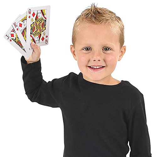 Gamie Jumbo Playing Cards Deck - 3 Inches X 5 Inches - Oversized Big Poker Card Set - Huge Casino Game Cards for Kids, Men, Women and Seniors - Great Novelty Gift Idea - 1 Pack