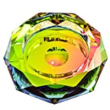 Crystal Cigar Ashtray Glass Ashtray Cigarette Ash Holder for Indoor and Outdoor Home Office Tabletop Colorful Decorative,Diameter 5.9''