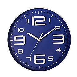 Kinger_Home Non-Ticking Silent Quartz Wall Clock with Big 3D Number Modern Design Quiet Sweep Movement Indoor Decorative for Living Room Kitchen Wall Clocks Battery Operated 10-Inch (Blue)
