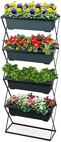 Jardinera Soporte de cajones de Incluye 4 – Jardinera para balcón y jardín – Macetero (Soporte: Amazon.es: Jardín