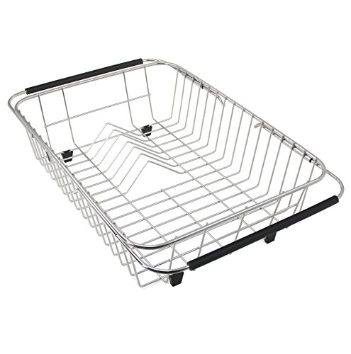 GTHUNDER Over Sink Basket Dish Drying Rack Stainless Steel S