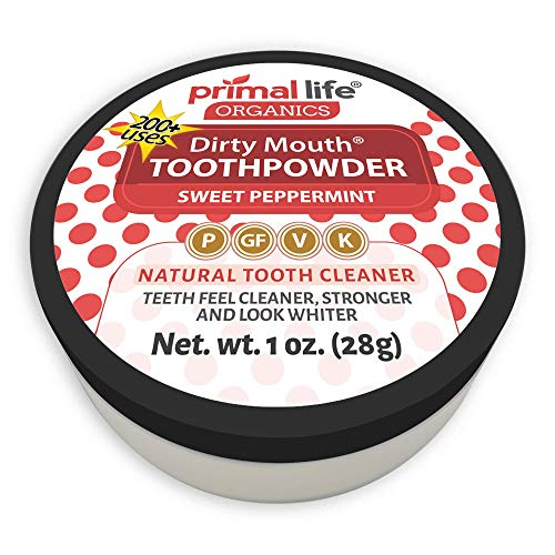 (Dirty Mouth Organic Sweet Peppermint Toothpowder #1 Rated Best All Natural - Tooth Powder Gently Polishes Teeth and Feel Cleaner, Stronger and Whiter Teeth - Primal Life Organics 1oz)