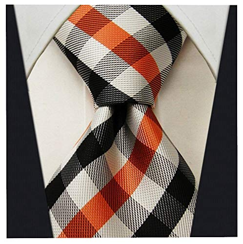 Gingham Plaid Ties for Men - Woven Necktie - Orange and Black