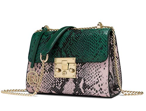 LAORENTOU Genuine Leather snakeskin handbags for women Crossbody Shoulder Bag Green