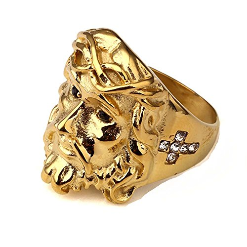 Stainless Steel 18K Gold Plating Punk High Polished Finish Jesus Hip Hop Rings ()