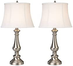 Dimond Lighting D2366/s2 Trump Home Fairlawn 2-Light Brushed Steel Traditional Table Lamp, 13 by 25-Inch, Nickel Finish, 2-Pack