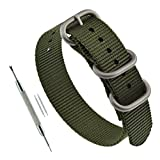 20mm Green Men's One-Piece Thick Zulu NATO Style Watch Bands Straps Replacement