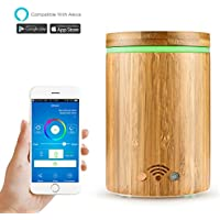Smart Aroma Essential Oil Diffuser Works with Alexa, 160ML WiFi Smart Aromatherapy Humidifier Timer with 7 LED Colors Remote Contorl via Phone,Waterless Auto Shut-off, Bamboo Wood RGB Air Purifier