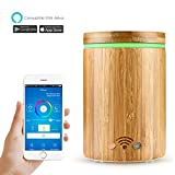 ONEVER 320ml Wifi Aroma Diffuser with Colorful LED Lights Waterless Auto Shut-off Bamboo Remote Control Via APP Compatible with Amazon Alexa