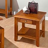 Jofran Sedona End Table in Oak Finish w Drawer & Display Shelf