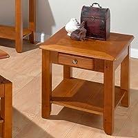 Sedona End Table in Oak Finish w Drawer & Display Shelf