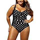 WoldGirls Women's Plus Size Swimsuit Swimwear One Piece Polka Dot Monokini Bikini