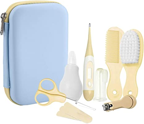 8 Unids Bebé Kit de Cuidado Diario Conveniente Bebé Kit de Aseo Nail Clipper Tijeras Cepillo de Pelo Peine Manicura(Amarillo): Amazon.es: Bebé