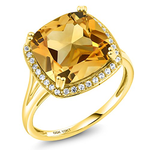 Gem Stone King 6.09 Ct Cushion Yellow Citrine White Diamond 10K Yellow Gold Ring (Size 6)