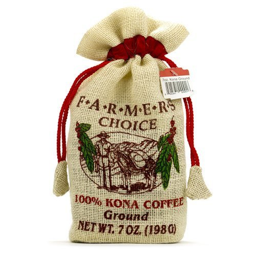 Farmers Choice 100% Kona Ground Coffee in Burlap Keepsake Bag (7 ounce) by Hawaiian Coffee - In Stores Kona