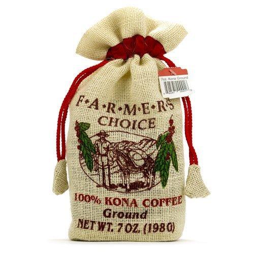 Farmers Choice 100% Kona Ground Coffee in Burlap Keepsake Bag (7 ounce) by Hawaiian Coffee - Kona In Stores