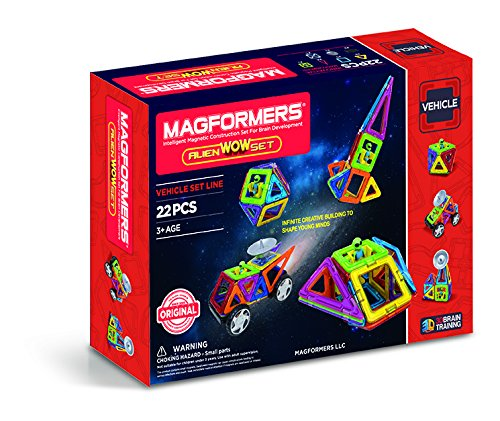 MAGFORMERS Space WOW Alien (22 Piece) Building Set, Rainbow