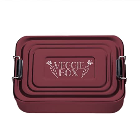 Crazy Kitchen Red Lunchbox Made From Aluminium Beautifully Etched Veggie Box Standard