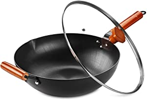 SKY LIGHT Wok Pan with Lid, No Chemical Stir Fry Pan 12.5-inch, 100% Carbon Steel Chinese Iron Pot with Detachable Wooden Handle, Scratch Resistant Flat Bottom for Electric, Induction & Gas Stoves