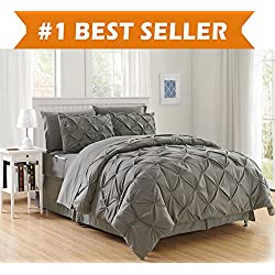 Luxury Best, Softest, Coziest 8-Piece Bed-in-a-Bag Comforter Set on Amazon! Elegant Comfort - Silky Soft Complete Set Includes Bed Sheet Set with Double Sided Storage Pockets, King/Cal King, Gray