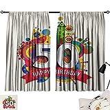 Jinguizi 50th Birthday Curtain Door Panel Cartoon Style Colorful Pop Poster Like Celebration Label Festive Design Print décor Darkening Curtains Multicolor W55 x L39
