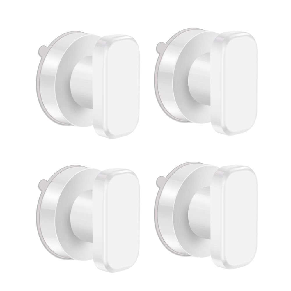 ALLOMN Strong Hold Suction Cup Safety Handle Safe Grip Door Handle Bathroom Window Toilet Knob Handle, White (Pack of 4)