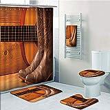 Bathroom 5 Piece Set shower curtain 3d print,Western,American Country Music Theme Guitar Instrument and Cowboy Shoes on Wood Image Decorative,Brown Orange,Bath Mat,Bathroom Carpet Rug,Non-Slip,Bath To