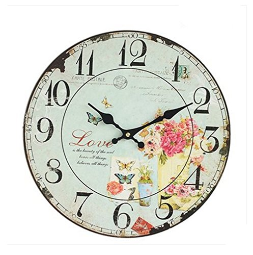 Vintage faded look 13 inch round wall clock, shabby chic, with floral design