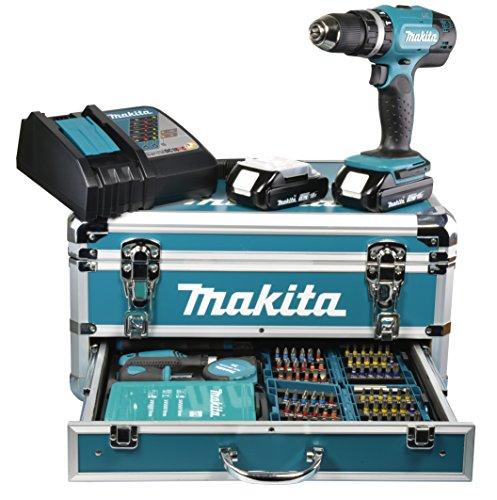 Makita Akku-Schlagbohrschrauber 18 V / 1,5 Ah im Alukoffer inklusive 96-teilig Zubehörset, DHP453RYX2