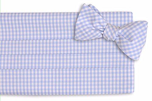 High-Cotton-Mens-Self-Tie-Carolina-Blue-Gingham-Cummerbund-Set