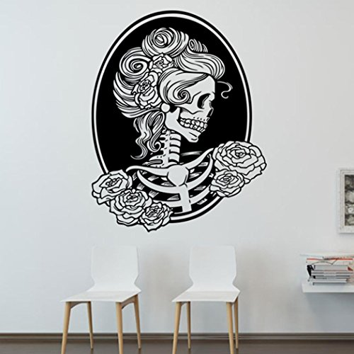 Wall Sticker, Hatop Halloween Skeleton Background Decorated Living Room Bedroom Wall Stickers (H)
