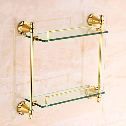 Modern Thick Glass Gallery Bathroom Shelf Wall Copper Material 8mm Tempered Glass (Size : -
