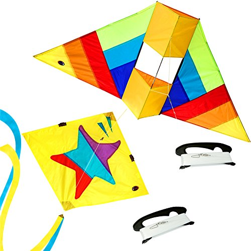emma kites Pack of 2 Little Star 30-inch Diamond Kite & Mr. Coq 60-inch Conyne Delta Kite for Kids and Adults - RTF kit with Tail & 320ft Kite String (Rtf Parts)