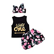 PROBABY Baby Girl Clothes Set Wild One Sleeveless Vest Tops Floral Shorts with Headband 3PCS Summer Outfit (6-12 Months, Black)
