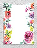 Ambesonne Watercolor Flower Decor Collection, Floral Frame with Summer Flowers Roses Natural Picture, Bedroom Living Kids Girls Room Dorm Accessories Wall Hanging Tapestry, Pink Navy Blue Purple White
