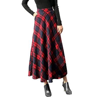 MINGGER Vestido de tartán Mujer, Falda a Cuadros, Cintura Alta ...